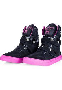 Tênis Cheia De Marra Sneaker Fitness Couro Cano Alto Preto/Pink
