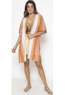 Kimono Listrado - Rosê & Off Whiter. Do Sol