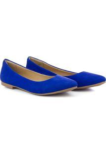 Sapatilha Feminina Nobuck Bico Fino Conforto Dia A Dia Leve Azul