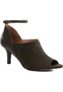 Ankle Boot Couro Shoestock Snake Curves Feminina - Feminino-Musgo