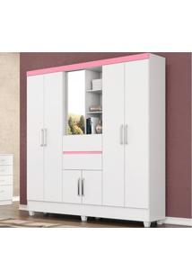Guarda-Roupa De Casal 7 Portas Capela Branco/Rosa - Lc Móveis
