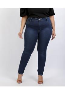 Calça Jeans Feminina Plus Size Sawary Super Skinny Cintura Alta Azul Escuro