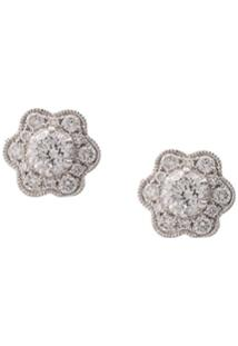 Marchesa Par De Brincos De Ouro Branco 18K Com Diamante - Prateado