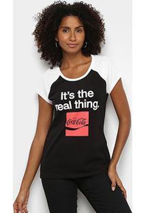 Camiseta Coca Cola Real Thing Feminina - Feminino-Preto