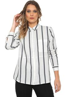 Camisa Only Listras Branca/Azul-Marinho