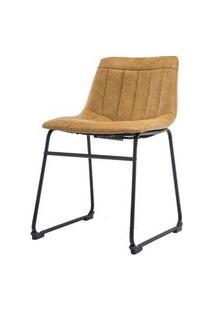 Cadeira Tamara Assento Courino Caramelo Com Base Aco Preto - 53159 Preto