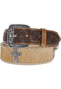 Cinto Couro Cowboy Com Apliques Master - Unissex-Bege