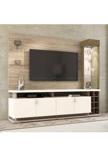 Estante Home Theater Para Tv Até 55 Polegadas 5 Portas Com Led E Vidro Vivace Riviera/Branco Off/Cappuccino - Colibri