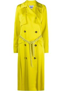 Msgm Trench Coat Com Cinto De Corrente - Amarelo