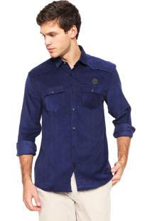 Camisa Calvin Klein Jeans Veludo Logo Azul