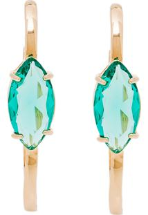Brinco Haste Longa Semijoia Banho De Ouro 18K Cristal Verde