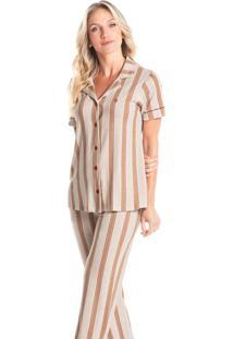 Pijama Longo Abotoado Listrado Estela - Branco/P