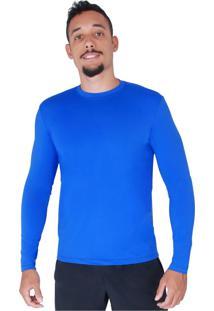Blusa Verão Rt Proteção Solar Uv 50 Térmica Respirável Masculina - Azul