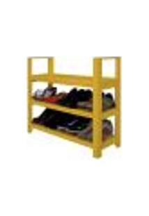 Sapateira Banco | Banqueta Com Braço De Piso Para Closets E Quartos 8 Pares Sapatos - Amarelo Laca