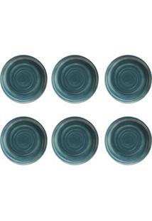 Conjunto De Pratos Raso Com 06 Peças Em Cerâmica Coup Espiral - Porto Brasil