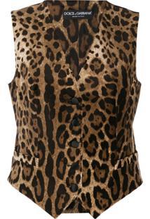 Dolce & Gabbana Colete Animal Print - Marrom