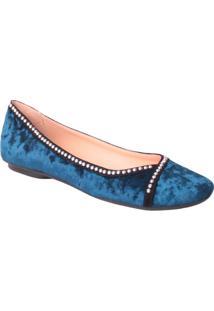 Sapatilha Aveludada Com Aviamento - Azul Escuro & Pretaluiza Barcelos