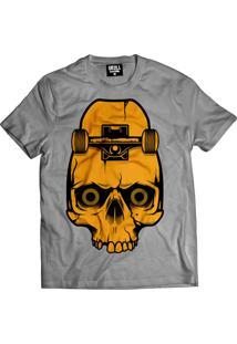 Camiseta Manga Curta Skull Clothing Caveira Skate Cinza