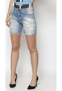 Bermuda Jeans Com Destroyed- Azul Claro- Morena Rosamorena Rosa