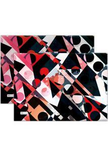 Jogo Americano Mdecore Abstrato 40X28Cm Preto 2Pçs