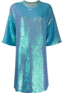 Off-White Vestido Reto Mangas Curtas Com Paetês Azul