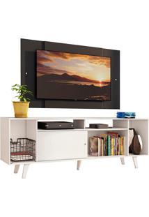 Rack Madesa Cancun E Painel Para Tv Atã© 58 Polegadas Com Pã©S - Branco/Preto 0977 Branco - Branco - Dafiti