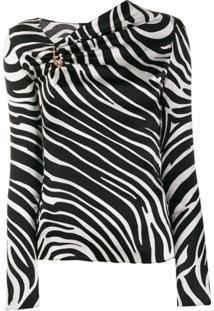 Versace Blusa Assimétrica Com Estampa De Zebra - Preto
