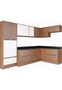 Cozinha Completa 12 Peças 16 Portas Calábria Multimóveis Nogueira/Branco Texturizado