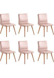 Conjunto Com 6 Cadeiras De Jantar Liana Marrom Claro E Castanho