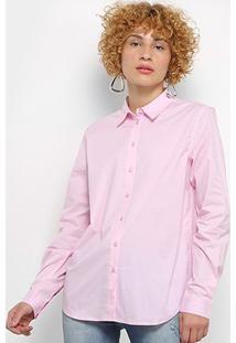 Camisa Colcci Manga Longa Básica Feminina - Feminino-Rosa