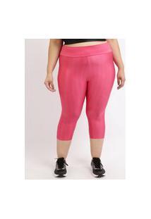 Calça Feminina Plus Size Esportiva Ace Corsário Texturizada Cintura Alta Pink