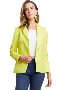 Blazer Mx Fashion Alfaiataria De Linho Polyanna Amarelo - Amarelo - Feminino - Linho - Dafiti