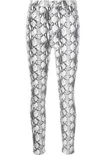 Frame Calça Jeans Skinny Com Estampa De Pele De Cobra - Branco