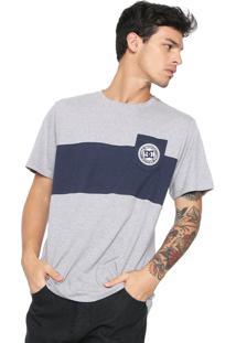 Camiseta Dc Shoes Rebel Block Cinza/Azul-Marinho