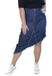 Saia Jeans Midi Ecolife Plus Size Assimétrica Azul