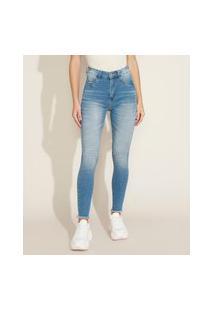 Calça Jeans Feminina Sawary Lipo Super Skinny Cintura Alta Barra Fio Azul Claro