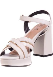 Sandália Meia Pata Butique De Sapatos Off-White