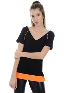 Camiseta Manga Curta Pinyx Shine Preto E Laranja - Kanui