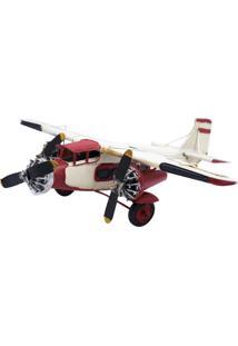 Enfeite Metal Minas De Presentes Avião 3 Hélices Vermelho