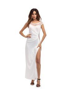 Vestido Longo Com Fenda E Detalhes Em Renda - Branco