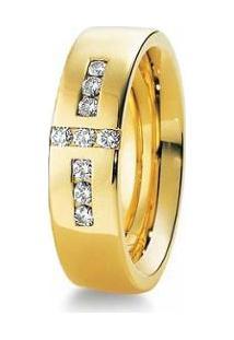 Aliança De Casamento Feminina Em Ouro 18K 750 6Mm Com Pedras Wm Jóias - Feminino-Dourado