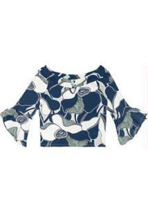 Blusa Ciganinha Canelada Azul