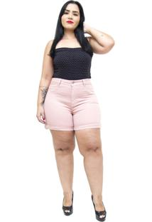 Short Jeans Cambos Plus Size Euda Rosa