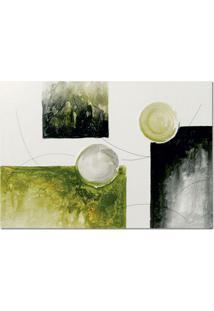 Quadro Artesanal Com Textura Abstrato Verde 70X100 Uniart