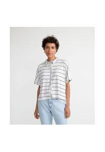 Camisa Manga Curta Em Viscose Listrada   Marfinno   Branco   M