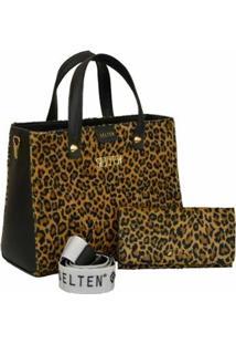 Kit Bolsa Selten Handbag Animal Print + Carteira Feminina - Feminino-Preto+Amarelo