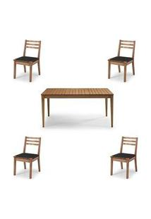 Conjunto Dubai Mesa + Cadeiras Assento Corda Preta - 60478 Preto