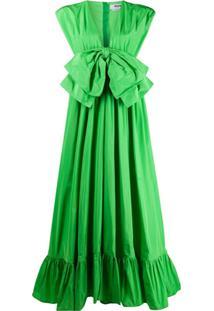 Msgm Vestido Com Laço Frontal - Verde