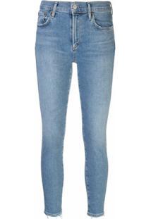 Agolde Calça Jeans Cropped Com Lavagem Estonada - Azul