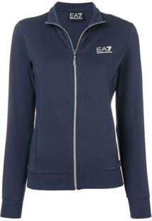 Ea7 Emporio Armani Cardigan Com Estampa De Logo - Azul